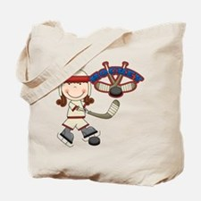 Brunette Girl Hockey Player Tote Bag