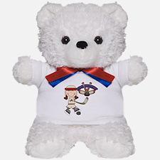 Brunette Girl Hockey Player Teddy Bear