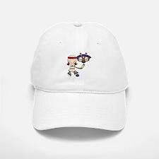 Brunette Girl Hockey Player Baseball Baseball Cap