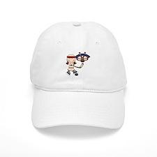 Brunette Girl Hockey Player Baseball Cap