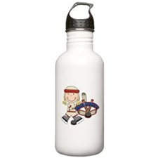 Blond Girl Hockey Player Water Bottle