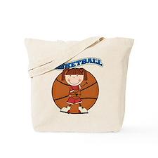 Brunette Girl Basketball Tote Bag