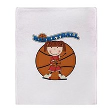 Brunette Girl Basketball Throw Blanket