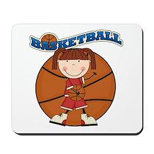 Brunette Girl Basketball Mousepad