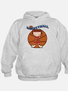 Brunette Girl Basketball Hoodie