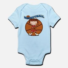 Brunette Girl Basketball Infant Bodysuit