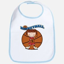 Brunette Girl Basketball Bib