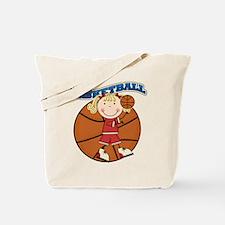 Blond Girl Basketball Tote Bag
