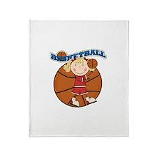 Blond Girl Basketball Throw Blanket