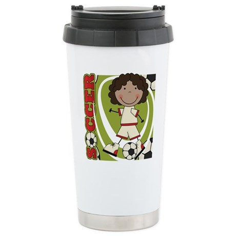 AA Girl Soccer Player Stainless Steel Travel Mug