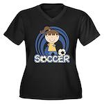Girls Soccer Women's Plus Size V-Neck Dark T-Shirt
