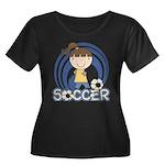 Girls Soccer Women's Plus Size Scoop Neck Dark T-S
