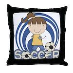 Girls Soccer Throw Pillow