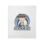 Girls Soccer Throw Blanket