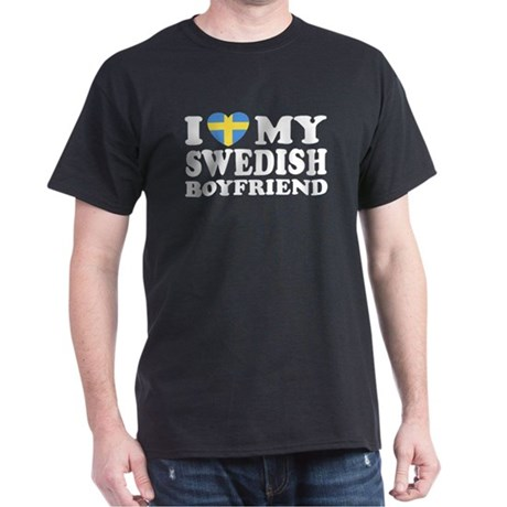 I Love My Swedish Boyfriend Black T-Shirt