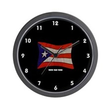 Puerto Rico Flag Graffiti Wall Clock