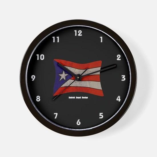 Puerto Rico Flag Graffiti Wall Clock