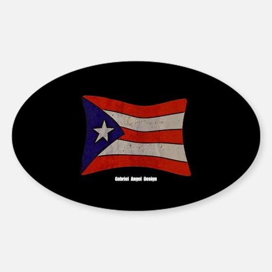 Puerto Rico Flag Graffiti Sticker (Oval)