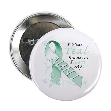 """I Wear Teal Because I Love My Aunt 2.25"""" Button"""