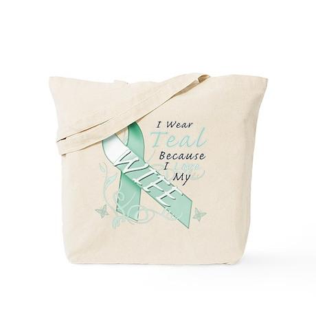 I Wear Teal Because I Love My Wife Tote Bag