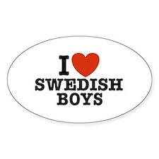 I Love Swedish Boys Oval Decal