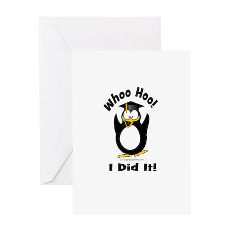 Whoo Hoo I Did it Penguin Gra Greeting Card