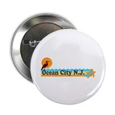 "Ocean City NJ - Beach Design 2.25"" Button"