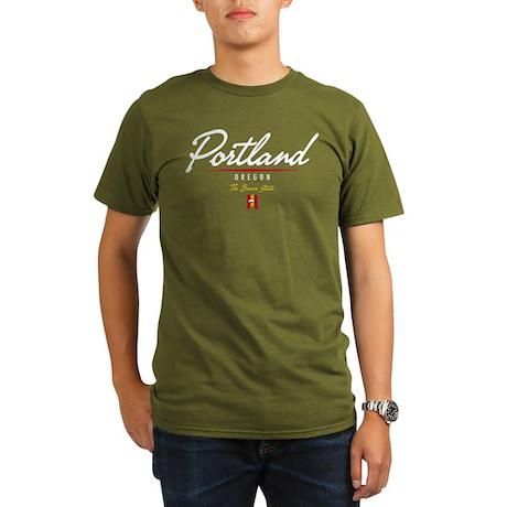 Portland Script Organic Men's T-Shirt (dark)
