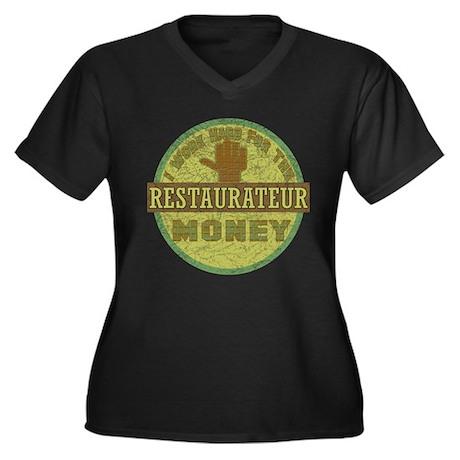 Restaurateur Women's Plus Size V-Neck Dark T-Shirt