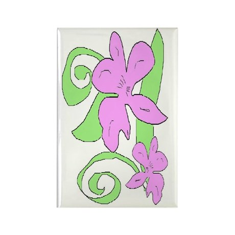 Pink/Green orchid Rectangle Magnet