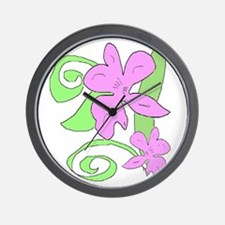 Pink/Green orchid Wall Clock