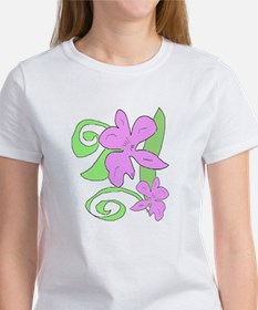 Pink/Green orchid Tee