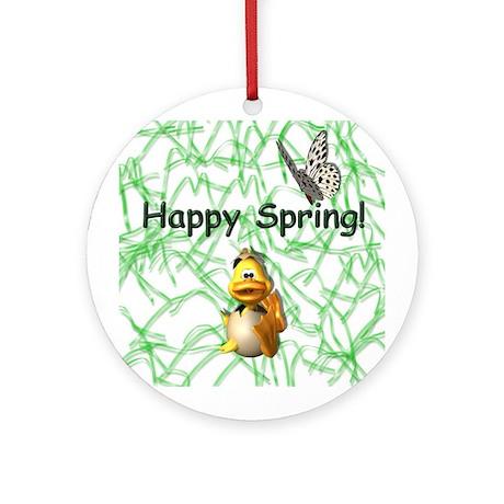 Happy Spring Duck Ornament (Round)