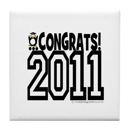 Congrats 2011 penguin Tile Coaster
