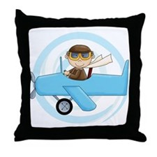 Boy Pilot Throw Pillow