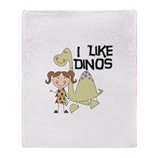 Girl I Like Dinos Throw Blanket