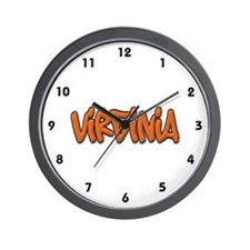 Virginia Graffiti Wall Clock
