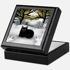 BLACK CAT WINTER SUNSET Keepsake Box