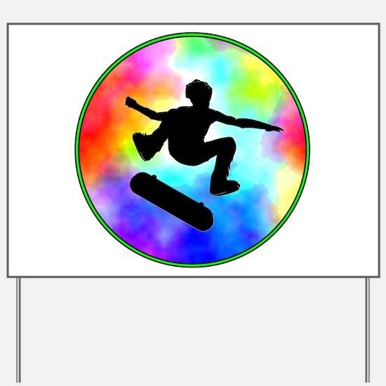 Tie Dye Skater Yard Sign