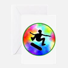 Tie Dye Skater Greeting Card
