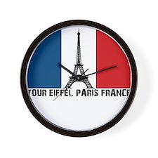 French Flag, Tour Eiffel Pari Wall Clock