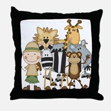 Boy on Safari Throw Pillow