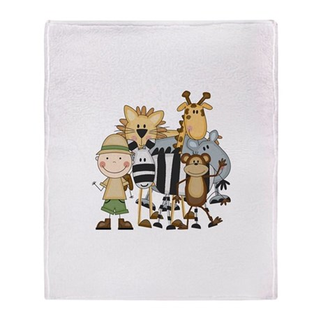 Boy on Safari Throw Blanket