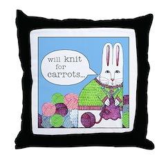 KNITTING BUNNY Whimsical Throw Pillow