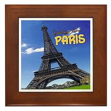 Vintage Travel Framed Tile - Tour Eiffel