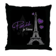 Paris je t'aime Throw Pillow (purple)