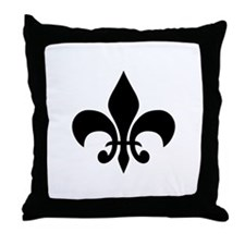 Fleur de Lis Throw Pillow (black/white)