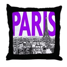 Paris Purple Throw Pillow