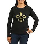 Fleur De Lis Women's Long Sleeve Dark T-Shirt