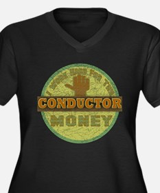 Conductor Women's Plus Size V-Neck Dark T-Shirt